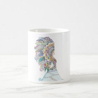 Native American Girl's Headdress Classic White Coffee Mug