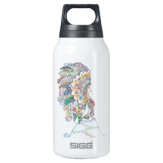 Native American Girl's Headdress Insulated Water Bottle