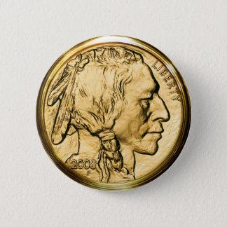 Native American Gold Coin Button