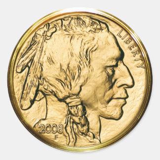 Native American Gold Coin Classic Round Sticker