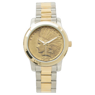 Native American Gold Coin Wristwatch