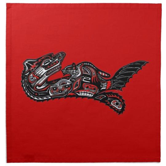 Native American Haida Art Otter Illustration Cloth Napkin