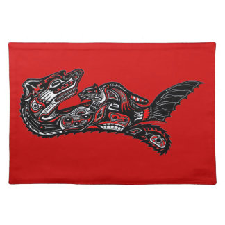 Native American Haida Art Otter Illustration Placemat