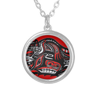 Native American Haida Art Otter Illustration Silver Plated Necklace