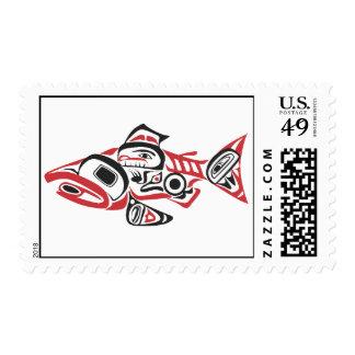 Native American Haida Salmon Design Stamps