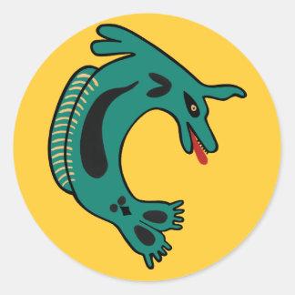 Native American Haida Sea Lion Round Sticker