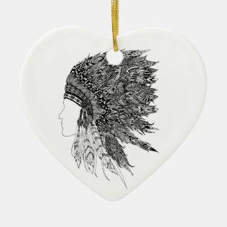 Native American headdress Ceramic Ornament