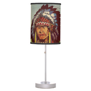 Native american table pendant lamps zazzle native american headdress chief table lamp aloadofball Image collections