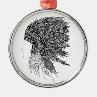 Native American headdress Metal Ornament