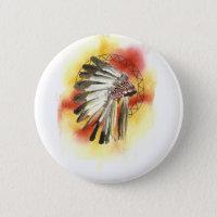 Native American Headresss Button