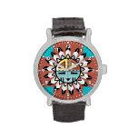 Native American Hopi Kachina Tribal Art Design Wristwatch