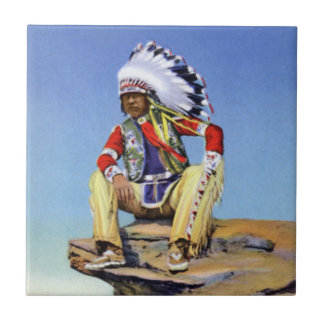 Native American in Costume Poised on Rock Ceramic Tile