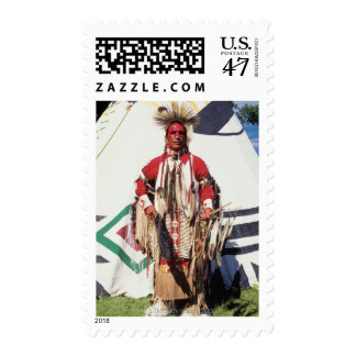 Native American in traditional garments at Postage
