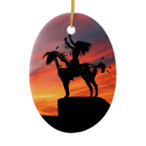 Native American Indian and horse Ceramic Ornament