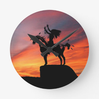 Native American Indian and horse Round Clock