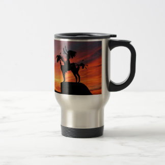 Native American Indian and horse Travel Mug