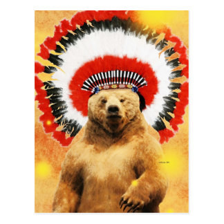 Native American Indian Bear! Post Cards