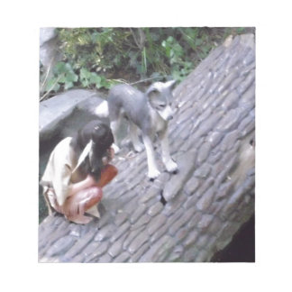 Native American Indian Boy with Wolf Note Pad