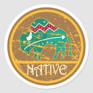 Native American Indian Buffalo Classic Round Sticker