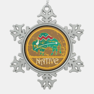 Native American Indian Buffalo Snowflake Pewter Christmas Ornament