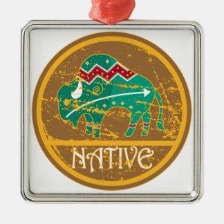 Native American Indian Buffalo Square Metal Christmas Ornament
