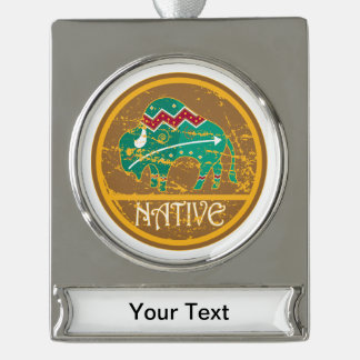 Native American Indian Buffalo Silver Plated Banner Ornament