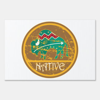 Native American Indian Buffalo Lawn Signs