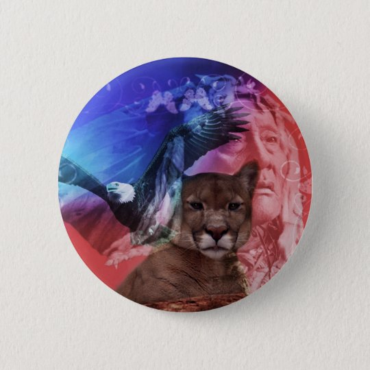 Native American Indian Chief Button