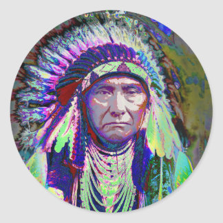 Native American Indian Chief Classic Round Sticker