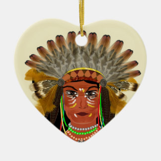 Native American Indian Chief Feather Headdress Ceramic Ornament