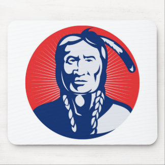 native american indian chief front view mouse pad