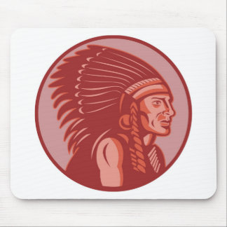 native american indian chief front view mousepad
