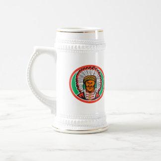 Native American Indian Chief Headdress 18 Oz Beer Stein
