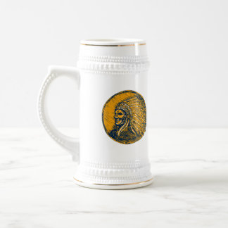 Native American Indian Chief Headdress Drawing 18 Oz Beer Stein