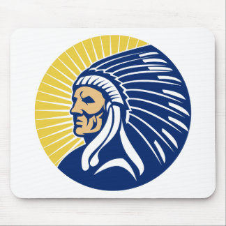 Native American Indian chief Mouse Pads