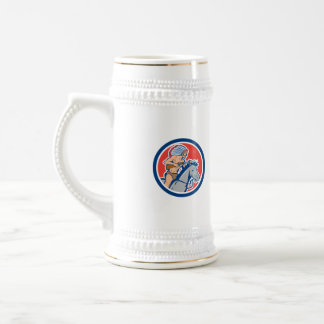 Native American Indian Chief Riding Horse Cartoon 18 Oz Beer Stein