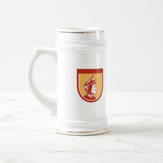 Native American Indian Chief Shield Retro 18 Oz Beer Stein