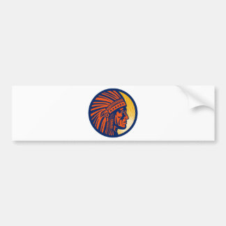 native american indian chief  side view bumper stickers