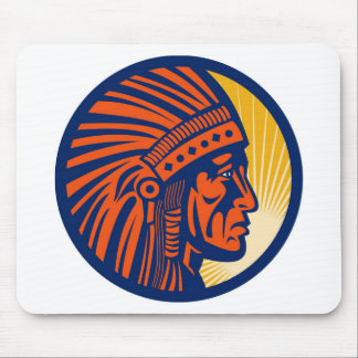 native american indian chief  side view mouse pad