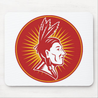 native american indian chief  side view mousepads