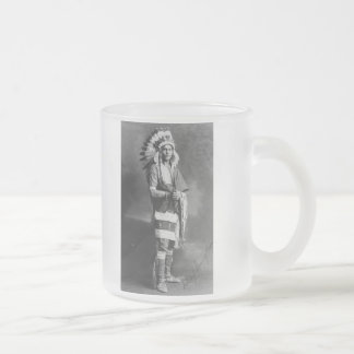 Native American Indian Chief Strong Arm Circa 1909 Frosted Glass Coffee Mug
