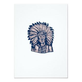 Native American Indian Chief Warrior Etching 11 Cm X 16 Cm Invitation Card