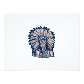 Native American Indian Chief Warrior Etching 6.5x8.75 Paper Invitation Card