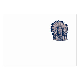Native American Indian Chief Warrior Etching Large Business Cards (Pack Of 100)