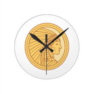 Native American Indian Chief Warrior Mono Line Round Clock