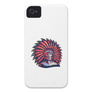 Native American Indian Chief Warrior Retro Case-Mate iPhone 4 Case