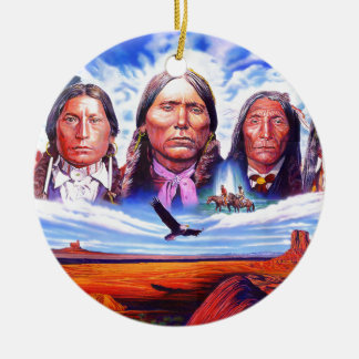 native american indian chiefs ceramic ornament