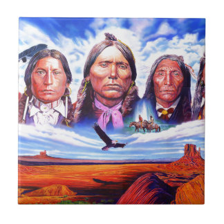 native american indian chiefs ceramic tile
