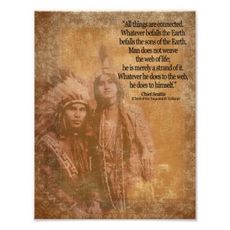 Native American Indian couple Chief Seattle quote Poster