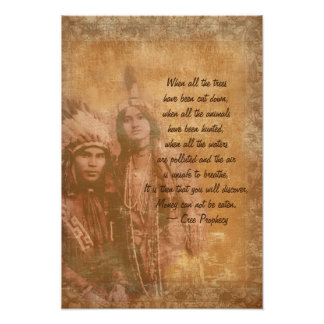 Native American Indian couple Cree Prophecy Poster